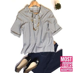land's end striped collared shirt